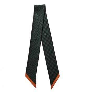 The Farfalla Skinny Italian Silk Scarf in black green & orange