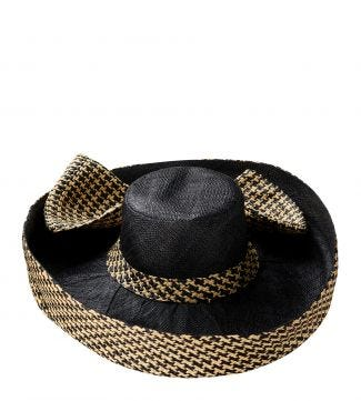 The Ascot Hat in black & sand | OSPREY LONDON
