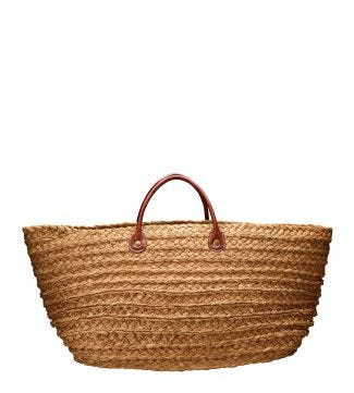 The Bali Raffia Beach Bag in nut brown | OSPREY LONDON