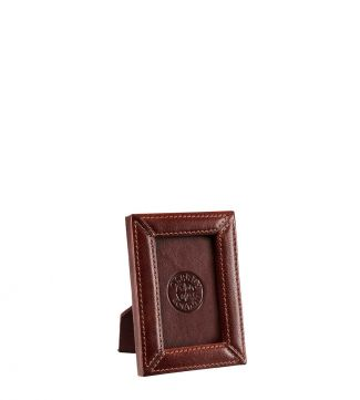 The Small Leather Photo Frame in chocolate | OSPREY LONDON