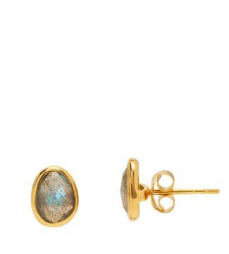 The Mara 18ct Gold Vermeil & Labradorite Stud Earrings | Women | OSPREY LONDON
