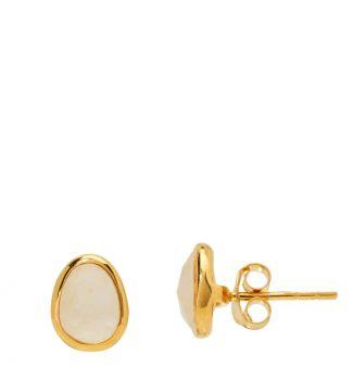 The Mara 18ct Gold Vermeil & Moonstone Stud Earrings | Women | OSPREY LONDON