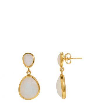 The Mara 18ct Gold Vermeil & Moonstone Two-Drop Earrings | Women | OSPREY LONDON