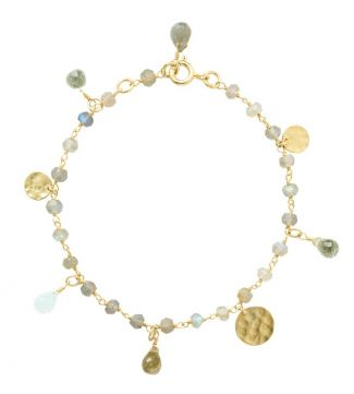 The The Estrella 18ct Gold Vermeil & Gemstone Charm Bracelet | OSPREY LONDON