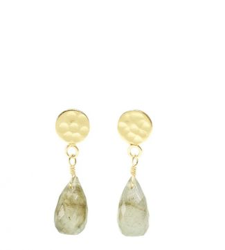 The Estrella 18ct Gold Vermeil & Labradorite Drop Earrings