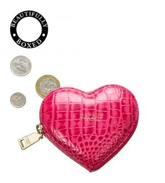 The Viola Leather Heart Coin Purse in fuchsia