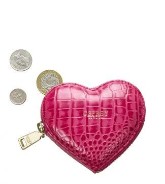 The Viola Leather Heart Coin Purse in fuchsia | Women | OSPREY LONDON