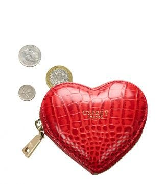 The Viola Leather Heart Coin Purse in red | Women | OSPREY LONDON