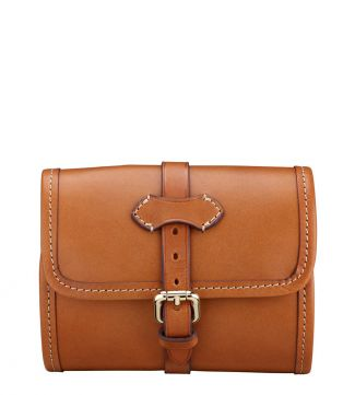 The Marcello Italian Leather Travel Washbag in cognac | OSPREY LONDON