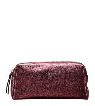 The Angelica Italian Leather Make-Up Bag in grape