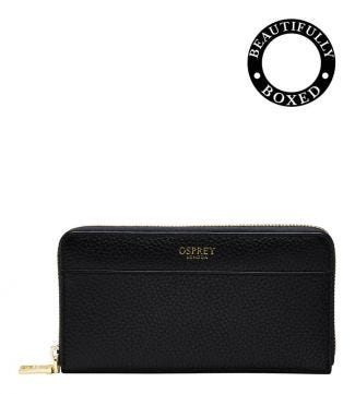 The Libby Large Leather Zip Round Purse in black | Women | OSPREY LONDON