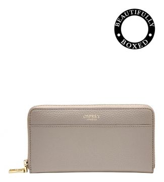 The Libby Large Leather Zip Round Purse in taupe | Women | OSPREY LONDON