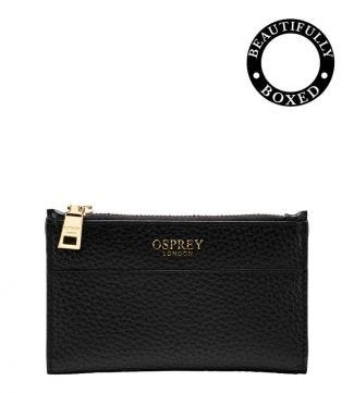 The Libby Leather Bi-Fold Purse in black | Women | OSPREY LONDON