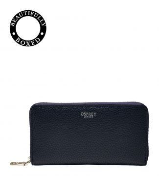 The Daria Leather Zip-Round Purse in midnight blue