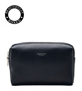 The Daria Leather Make Up Bag in midnight blue