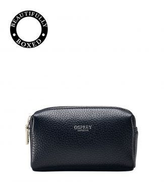 The Small Daria Leather Make Up Bag in midnight blue