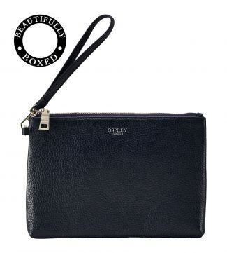 The Daria Leather Zipped Pouch in midnight blue