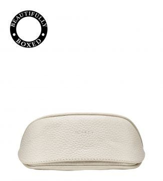 The Daria Leather Sunglasses Case in coconut white