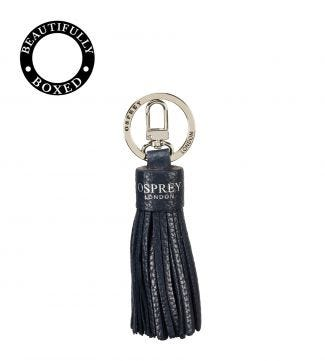 The Daria Leather Tassel Keyring in midnight blue