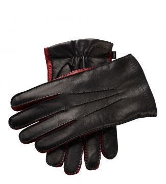 The Anthony Italian Leather Gloves in black and red | OSPREY LONDON