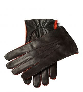 The Anthony Italian Leather Gloves in chocolate and orange | OSPREY LONDON