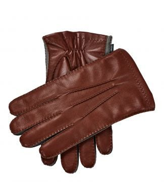The Anthony Italian Leather Gloves in cognac and grey | OSPREY LONDON