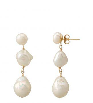 The Baroque Freshwater Pearl & 18ct Gold Vermeil Three-Drop Earrings | OSPREY LONDON