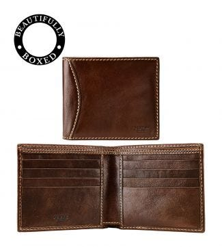The E/W Brody Leather Billfold Wallet in tan | OSPREY LONDON
