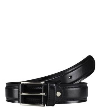 The Caine Leather Belt in black