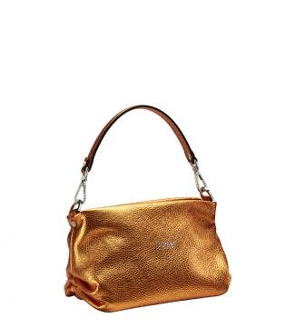 The Carina Shrug Italian Leather Handbag in metallic pumpkin | OSPREY LONDON