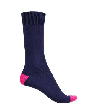 English Luxury Cotton Socks in navy & pink | OSPREY LONDON