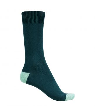 English Luxury Cotton Socks in petrol & jade | OSPREY LONDON