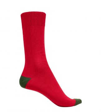 English Luxury Cotton Socks in red & moss | OSPREY LONDON