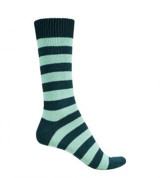 English Luxury Striped Cotton Socks in petrol & jade | OSPREY LONDON