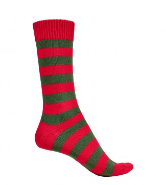 English Luxury Striped Cotton Socks in red & moss | OSPREY LONDON