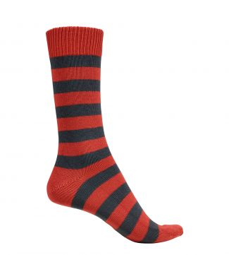 English Luxury Striped Cotton Socks in rust & slate