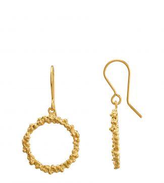 The Gabriella Halo 18ct Gold Vermeil Drop Earrings | OSPREY LONDON