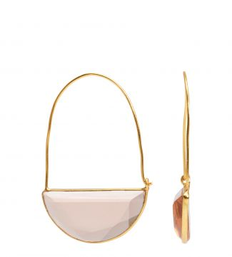 The Gia Crescent 18ct Gold Vermeil Earrings in apricot | OSPREY LONDON