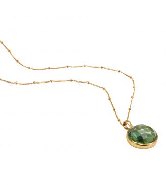 The Gia Moon 18 Inch 18ct Gold Vermeil Necklace in apple green | OSPREY LONDON