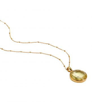 The Gia Moon 18 Inch 18ct Gold Vermeil Necklace in lemon yellow | OSPREY LONDON