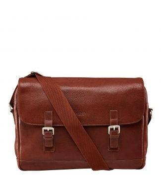 The Large Watson Leather Satchel in cognac | OSPREY LONDON