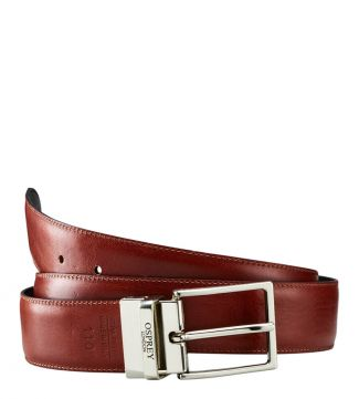 The Luca Italian Leather Belt in black and cognac