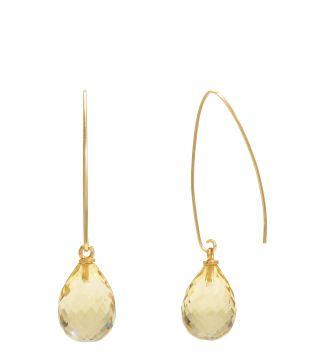 The Popsicle 18ct Gold Vermeil Dewdrop Earrings in lemon yellow | OSPREY LONDON