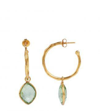 The Popsicle 18ct Gold Vermeil Hoop Earrings in apple green | OSPREY LONDON