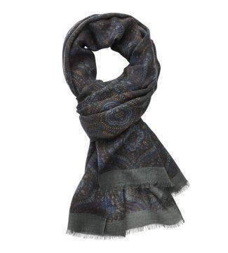 The Sheringham Paisley Wool Scarf in  Blue   OSPREY LONDON