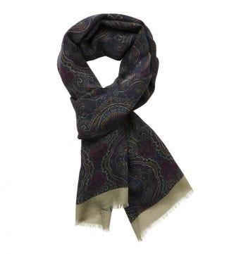 The Sheringham Paisley Wool Scarf in purple   OSPREY LONDON