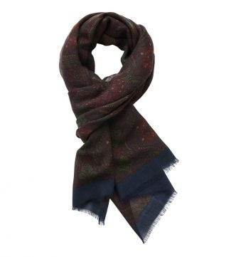 The Sheringham Paisley Wool Scarf in red  OSPREY LONDON