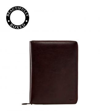 The Spencer A5 Leather Document Case in chocolate   OSPREY LONDON