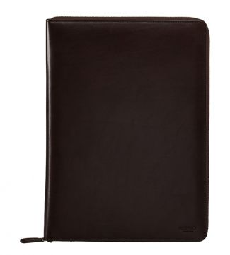 The Spencer Large Leather Document Case in chocolate | OSPREY LONDON