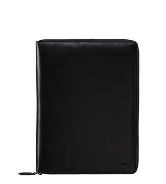 The Spencer Small Leather Document Case in black | OSPREY LONDON